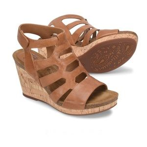 Sofft Leather Courtnee Cork Wrapped Wedge Size 8.5